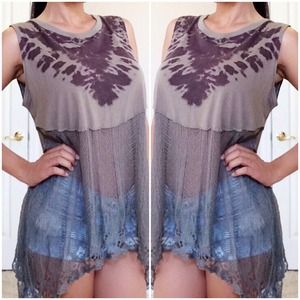 FreePeople Top with Sheer lace detail