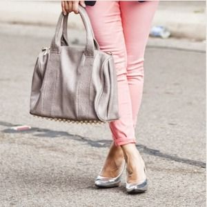 Gray Faux Leather Handbag