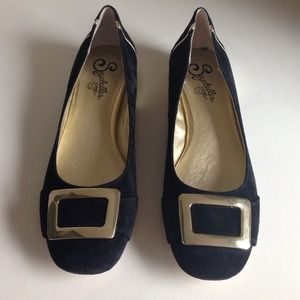 Seychelles Suede Black Flats with Gold Details