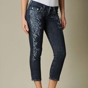 True Religion Rolled Capri Indigo Cathedral Pant