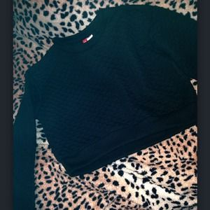 Quilted sweater crop top