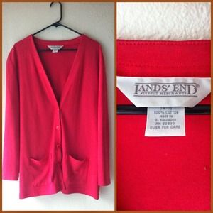 Casual red long cardigan