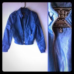 Super cute blue bomber (faux leather)