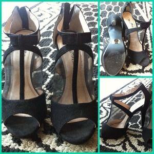 Mesh black stiletto heels