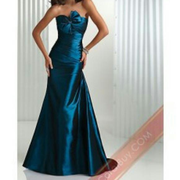 Maggie Sottero Flirt prom dress bow mermaid teal