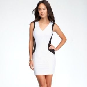 bebe Dresses & Skirts - Geometric hourglass white dress
