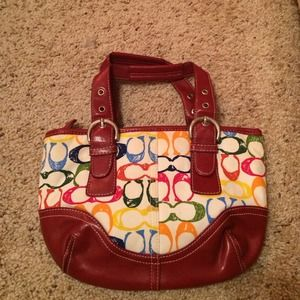 Auth Coach Colorful Hand bag