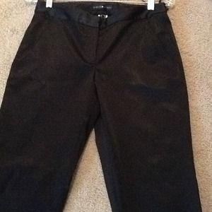 Aidan Mattox Pants - Aidan Mattox Black Satin Cropped Career/Dress Pant