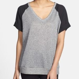 Bobeau Short Sleeve Shine Woven V-Neck Top