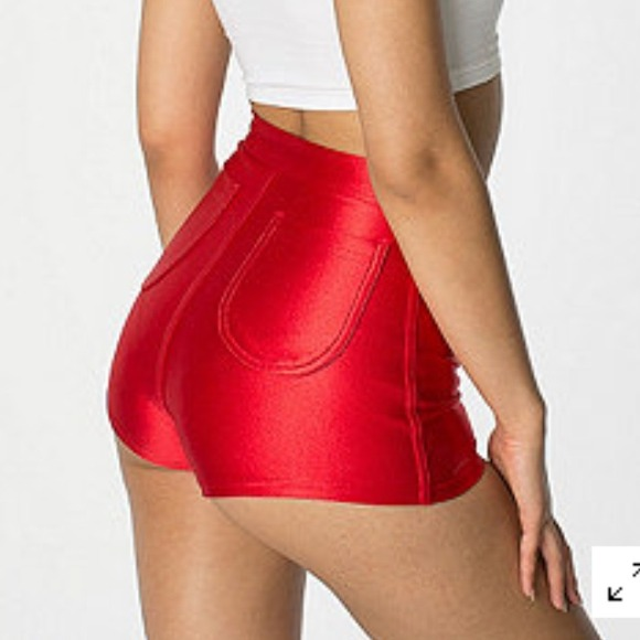 ❌SOLD❌Metallic Red High Waisted Disco Shorts S from Haley's ...