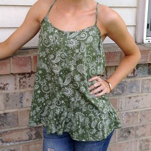 ARMY GREEN PAISLEY TOP