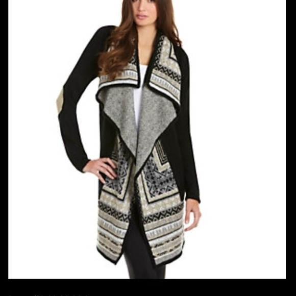 66% off Kensie Sweaters - Black, white and tan long cardigan. from ...