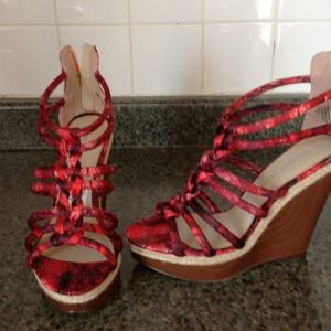 Christian Siriano Shoes - Christian Siriano strappy red sandals