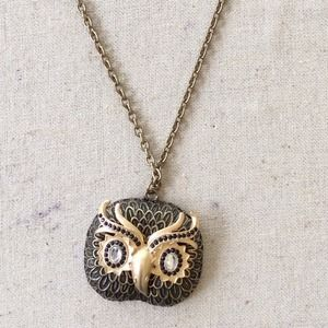 Owl crystal statement necklace
