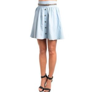 A-line Button Up Vintage Inspired Blue Skirt