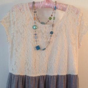 Cream lace tunic/dress spring &summer