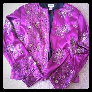 Chico's Jackets & Blazers - Chico's Embroidery/Bead Detail Fuschia Jacket