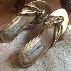 Steve Madden Shoes - Steve Madden Gold Kitten Heel Sandals