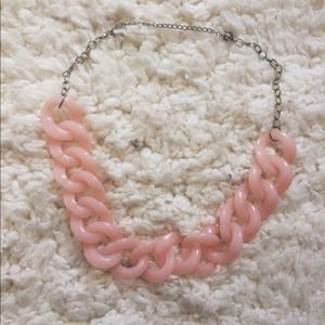 Pink Acrylic Chain Link Statement Necklace