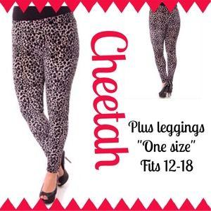 Plus size velvet cheetah leggings