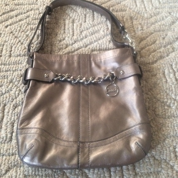 4498e9b1ff Coach Handbags - Authentic coach bag silver with adjustable strap