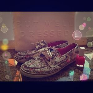 Sperry topsider floral boat shoes 6 print