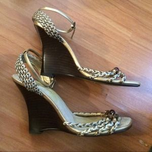 "Linea Paolo Shoes - Linea Paolo ""Alayna"" Leather Rope and Bead Wedges"