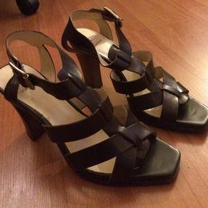 Circa Joan & David Shoes - Circa Joan & David Brown Leather Strap Wood Heels