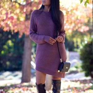 Asymmetric mauve sweater dress