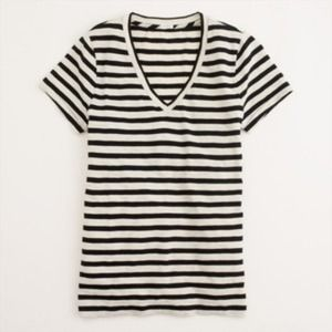 J.crew Factory Vintage Cotton Stripped Vneck Tee