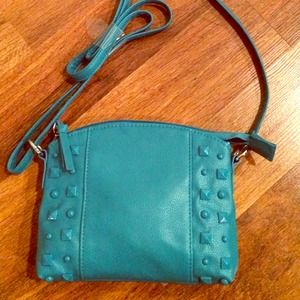 Handbags - TURQUOISE STUDDED CROSSBODY HANDBAG.