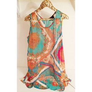 Tops - Scarf Print Sleeveless Tunic