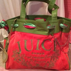 Juicy Couture Handbags - Juicy couture velour pink and green purse