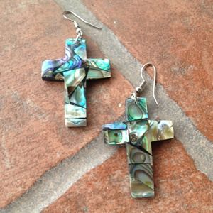 handmade Jewelry - Abalone cross earrings from Bali
