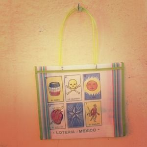 ••HOST PICK•• Mexican Shopper Bag, Lotería, White