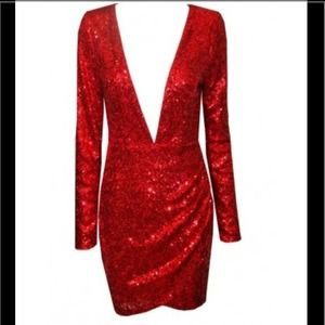 A gorgeous red sequin dress.