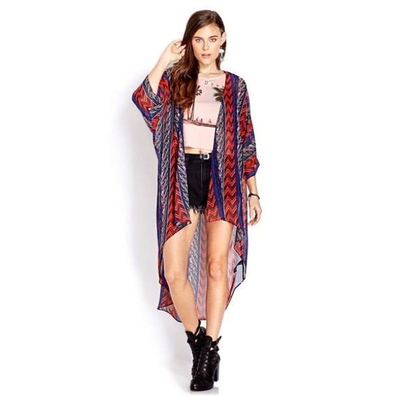 36% off Forever 21 Jackets & Blazers - Striped Tribal Print Long ...