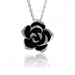 Black Enamel flower Necklaces