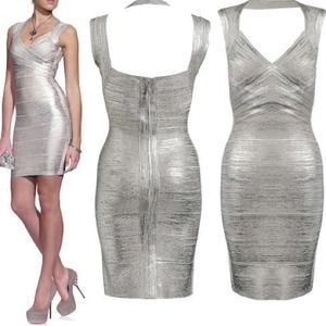 Herve Leger Dresses & Skirts - SILVER HERVE LEGER BANDAGE DRESS