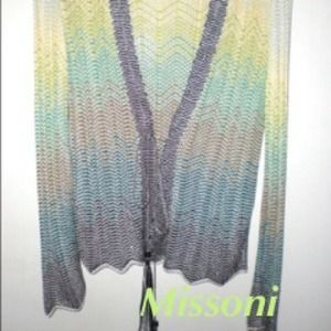 Missoni Tops - Missoni Light Green/Brown Chevron Stripe Cardigan