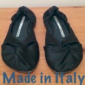 Dusica Kotur Shoes - Dusica Kotur Sacks Black Satin Scrunch Ballet Flat