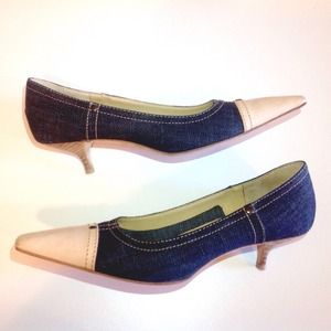 ✨🆕 MIU MIU denim+pink leather low pumps GUC
