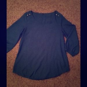 Francesca's Collections, gold studded, teal blouse