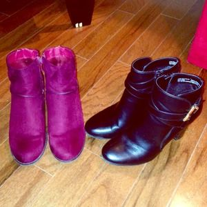 Suede cranberry booties!