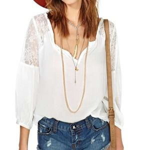 Foreign Exchange  Tops - Lace Sleeve Blouse