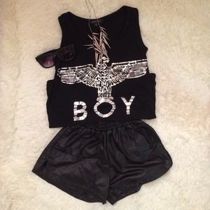 Tops - Boy tank top leather shorts