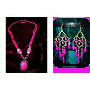 Jewelry - Necklace and ear ring pink
