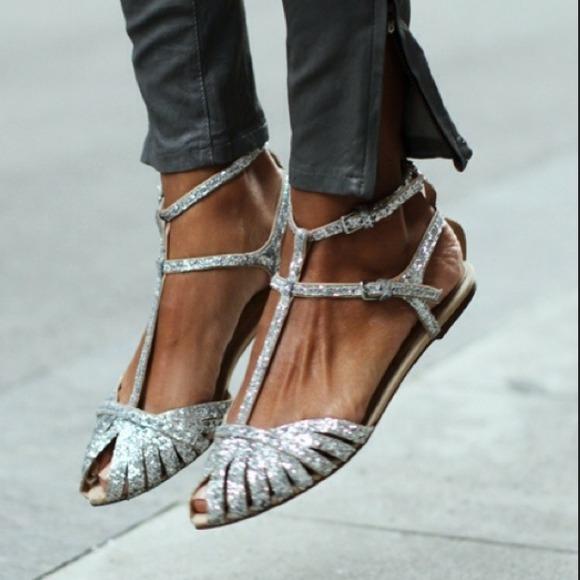 Zara Shoes Glitter Flat Sandals Poshmark