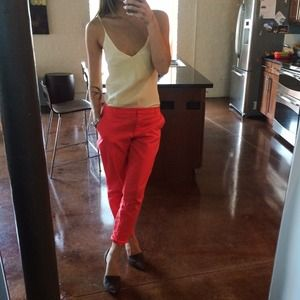 Pants - Basic trousers in coral