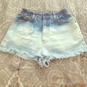 Denim - Two toned denim cut off shorts